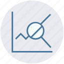 analytics, chart, diagram, financial report, magnifier, searching, statistics icon