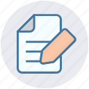analytics, document, file, page, pencil, statistics, writing icon