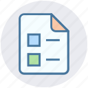 analytics, document, file, list, page, statistics, tick mark icon