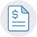 analytics, document, dollar, file, page, statistics icon