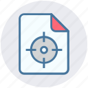 aim, analytics, document, file, page, statistics, target icon