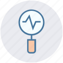 analytics, chart, diagram, financial report, growth, magnifier, statistics icon