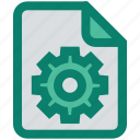 analytics, document, file, gear, page, setup, statistics icon