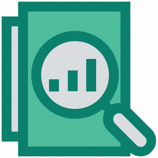 analytics, find, graph, magnifier, pages, papers, view icon