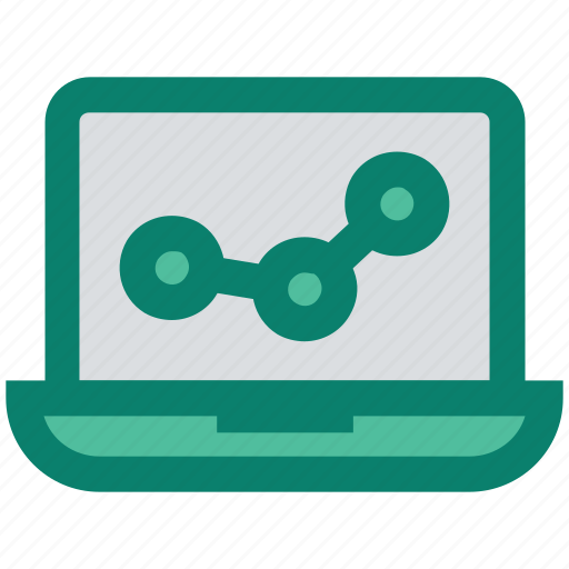 analytics, bars, graph, laptop, reports, stabilization icon