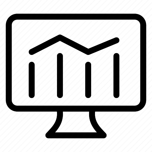 analytics, chart, report, screen icon