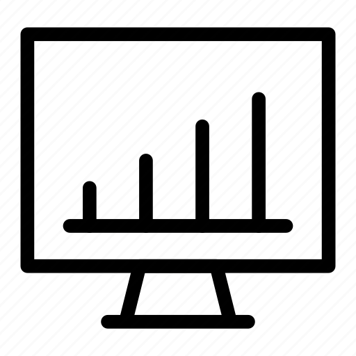 analysis, chart, graph, screen icon