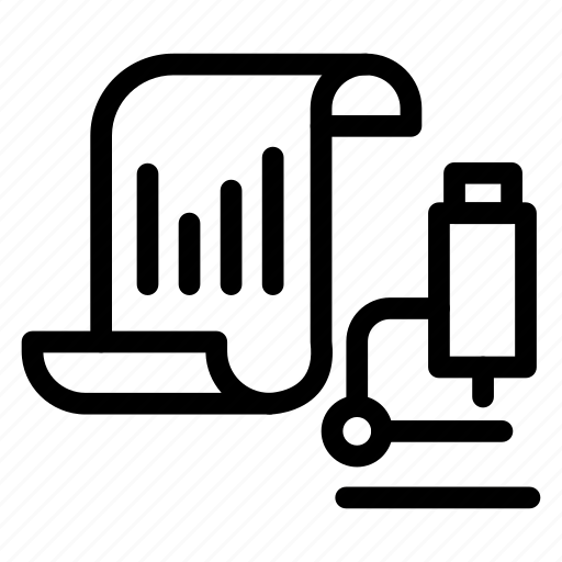 analytics, lab, microscope, report icon