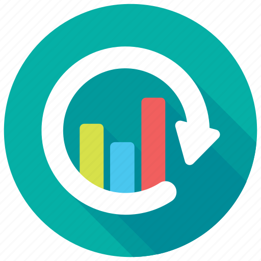 bar chart, data presentation, refresh graph, sync graph, update graph icon