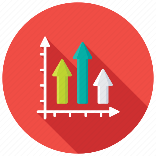 bar chart, bar graph, growth arrow, performance analysis, progress chart icon