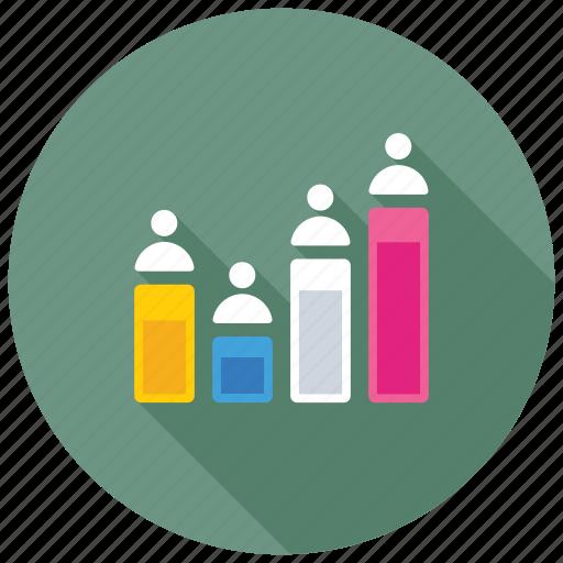 Customer engagement chart, comparative data, web visitor, profile rating, profile score icon