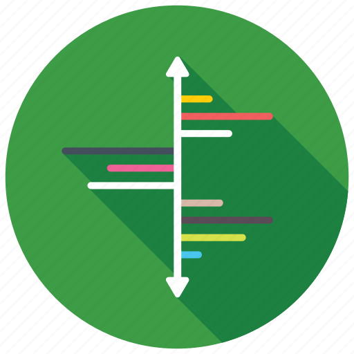 data presentation, horizontal diagram, multi product plot, tornado chart, vertical chart icon