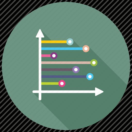 dashboard, horizontal bar graph, horizontal graph, horizontal histogram, statistics icon