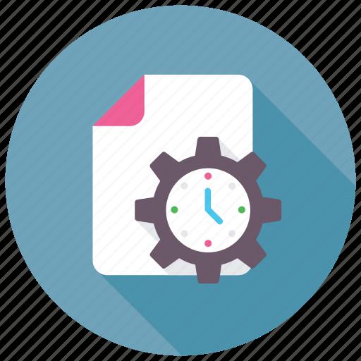 clock under cogwheel, data management, day planner, schedule, time management icon