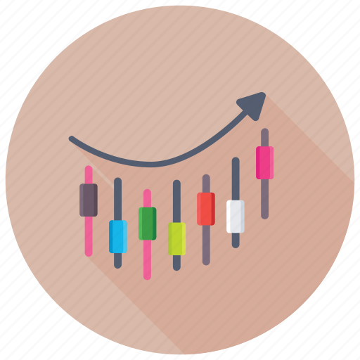 Business chart, candlestick chart, graphic presentation, candlestick graph, stock exchange analysis icon