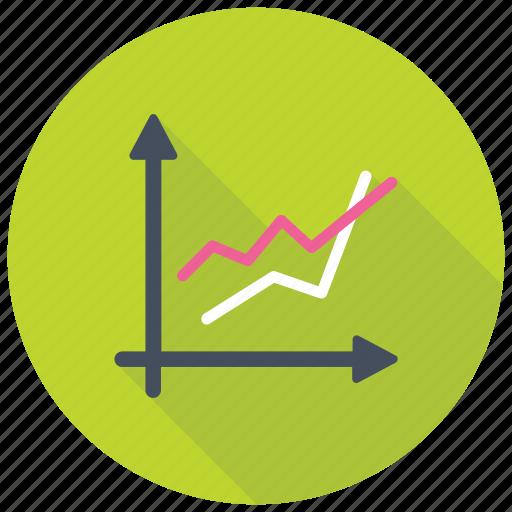 Line graph, comparison graph, line chart, trending graph, business growth chart icon