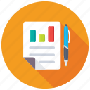business analysis, business report, graph report, sales report, stock report icon