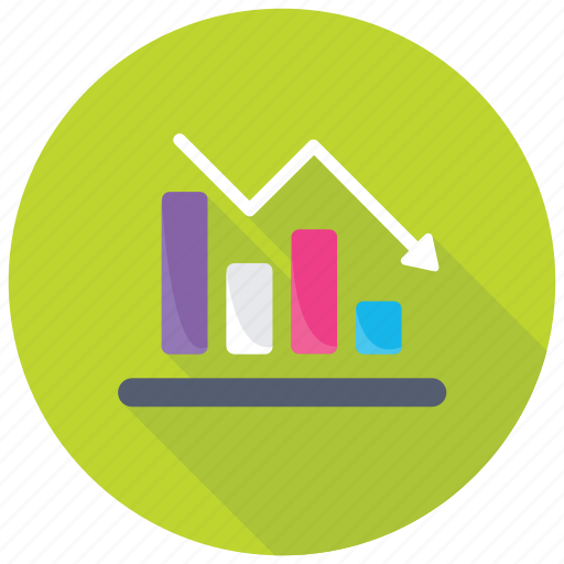 Financial performance, loss chart, business analysis, decrease graph, financial crises rate icon