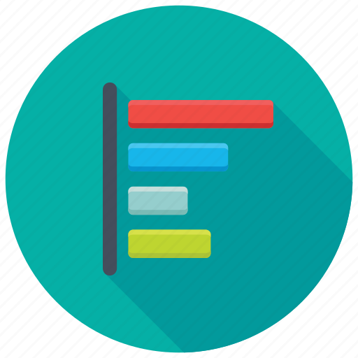 business analytics, horizontal bar graph, horizontal histogram, infographic dashboard, statistics icon