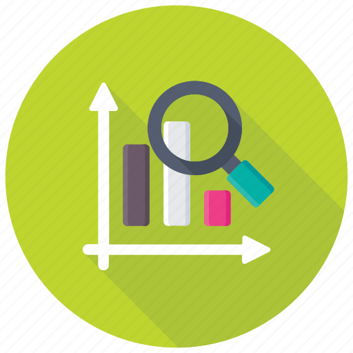 Data analyzing, search stats, graph magnifying, graph analysis, statistical analysis icon