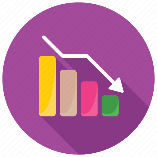 business analysis, business loss, decrease barchart, financial performance, statistical analysis icon