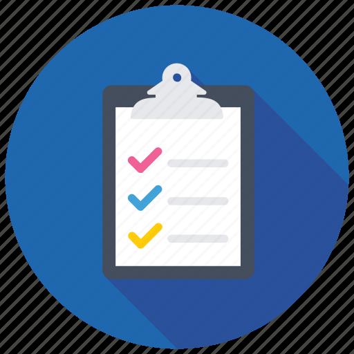 checklist, clipboard document, memo, survey report, testing concept icon