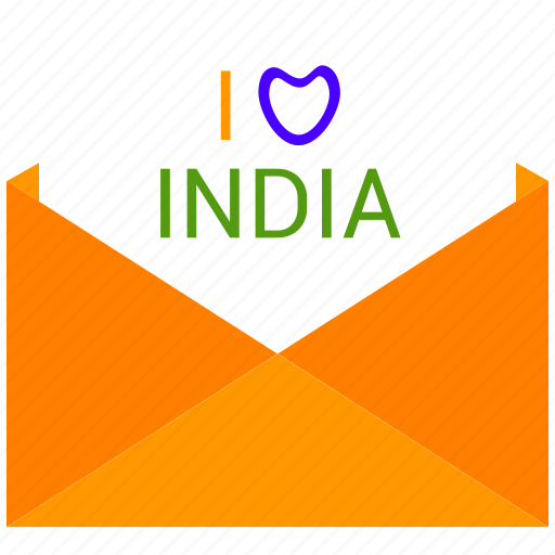 i love india, india, open mail, republic day icon
