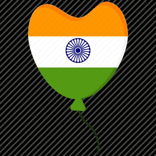 ballon, birthday, heart, india, party, republic day icon