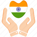 hand, heart, india, republic day icon