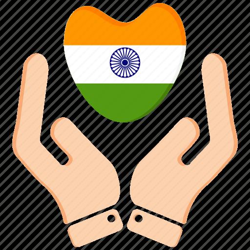 hand, heart, india, republic day icon