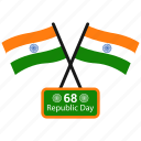 flag, india, republic day, sixty eight icon