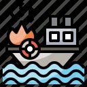 boat, fire, nature, ocean, sea, ship icon
