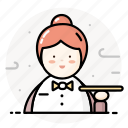 female, restaurant, service, staff, waiter, woman icon