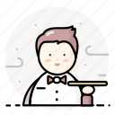 man, restaurant, service, staff, waiter icon