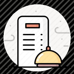 bell, call, menu, reception, restaurant, ring icon