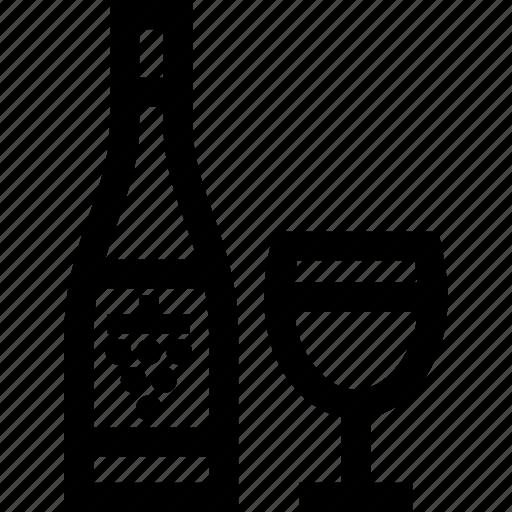 bottle, glass, white, wine icon