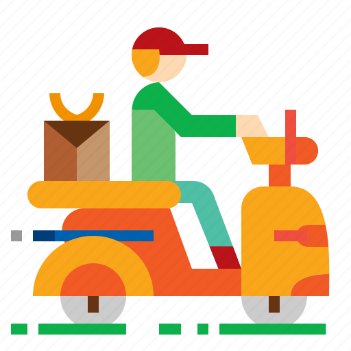bike, delivery, rider, scooter icon