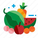 apple, fruit, melon, pineapple