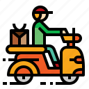 bike, delivery, rider, scooter