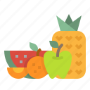 fruits, juice, orange, pineapple, watermelon