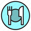dinner, dish, food, fork, knife, restaurant icon