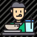 eat, food, man, people, restaurant icon