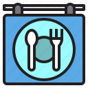 cooking, food, location, restaurant, signboard icon
