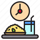 clock, drink, food, rice, time icon