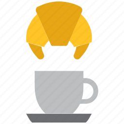 coffee, croissant, cup icon