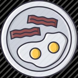 bacon, breakfast, egg, food, fried, plate, restaurant icon