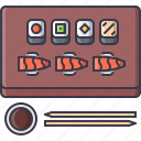 food, restaurant, roll, sauce, soy, sticks, sushi icon