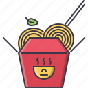 box, food, noodles, restaurant, sticks icon