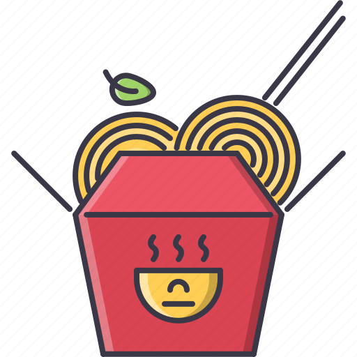 box, food, noodles, restaurant, sticks icon