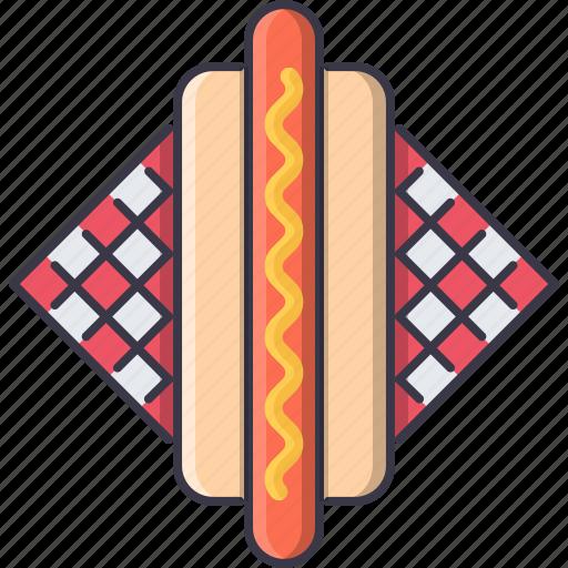 dog, food, hot, napkin, restaurant, sausage icon